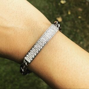 Pave Bracelet With Leather And Silver Chain